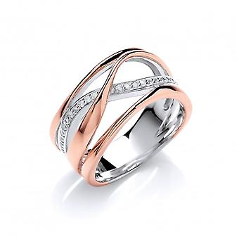Cavendish Franse zilver, Rose goud en CZ Wide Strand Ring