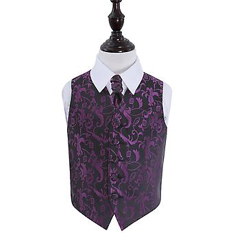 Boy's Black & Purple Passion Floral Patterned Wedding Waistcoat & Cravat Set