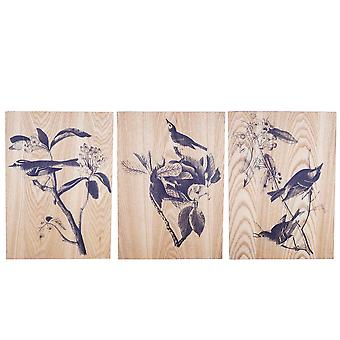 Bird Life' Decorative Wooden Home Wall Art Trio