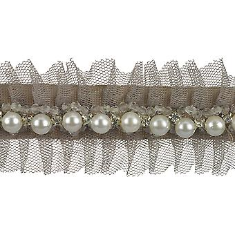 Faux Pearls & Rhinestones Pleated Tulle Trim 1-7/8