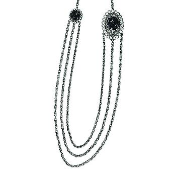 Silver-tone Black Flowers and Clear Crystal Layered 36inch Necklace