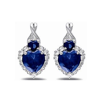 Affici Sterling Silver Earrings 18ct White Gold Plated with Sapphire Heart  CZ Gems