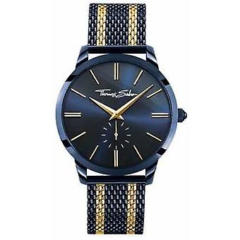 Thomas Sabo Mens Rebel Spirit Blue Steel Yellow Gold Stripes WA0283-286-209-42 Watch