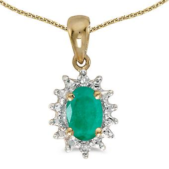 10k Yellow Gold Oval Emerald And Diamond Pendant with 18
