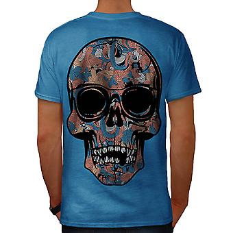 Fantasy Skull Party Mad Chaos Men Royal Blue T-shirt Back | Wellcoda