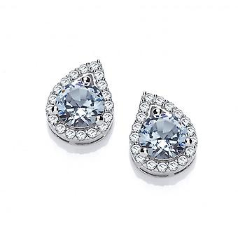 Cavendish French Silver and Aqua Cubic Zirconia Teardrop Twist Earrings