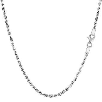 14k White Gold Solid Diamond Cut Royal Rope Chain halsband, 2,0 mm