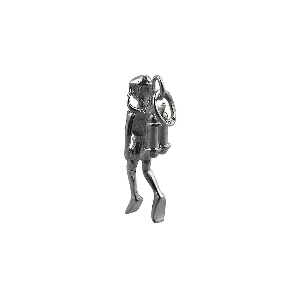 Silver 27x8mm Aqualung Diver simning hänge eller Charm