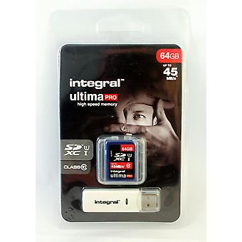 Fast 64GB SDXC Class 10 UHS-I Memory Card with USB Reader & up to 45MB/s.