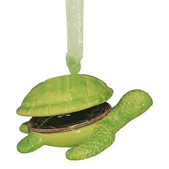 Grøn Sea Turtle hængslede boks Christmas Holiday Ornament