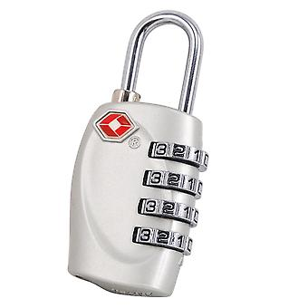 TRIXES 4-Dial TSA Combination Padlock for Luggage Suitcases and Travel Silver