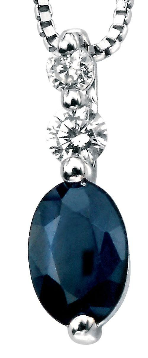 9Ct blanc or Necklace Sapphire And Diamond