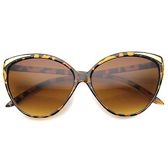 Women's Oversize Metal Accent Bold Cat Eye Sunglasses 61mm