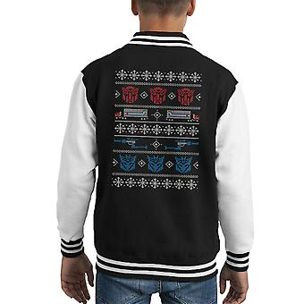 Transformers Christmas In Disguise Knit Pattern Kid's Varsity Jacket