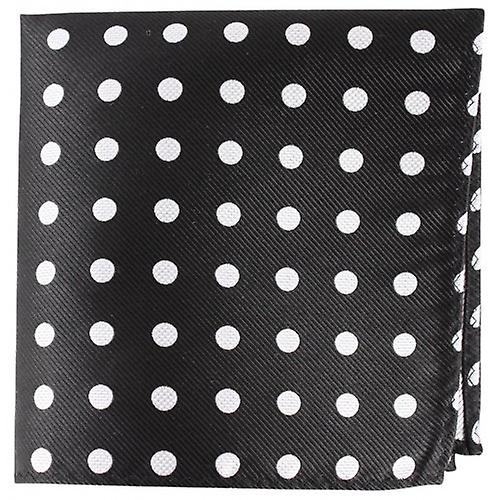 Knightsbridge Neckwear Polka Dot Silk Pocket Square - Black/Silver