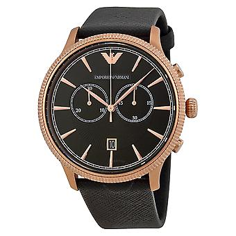 Emporio Armani AR1792 Alpha Black Leather Strap Black & Gold Dial Chronograph Watch