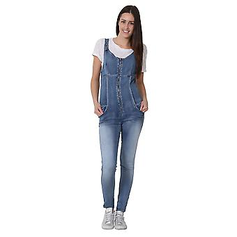 Womens Denim Jumpsuit Sleeveless Playsuit Zip front Overalls