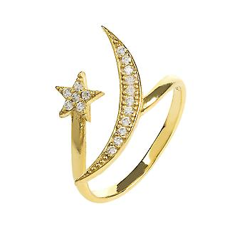 Moon and Star Ring Gold White CZ