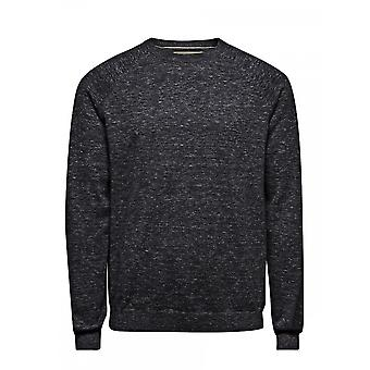 Jack and Jones Bronwood Knit Crew Neck Hoodie Dark Grey (Melange)
