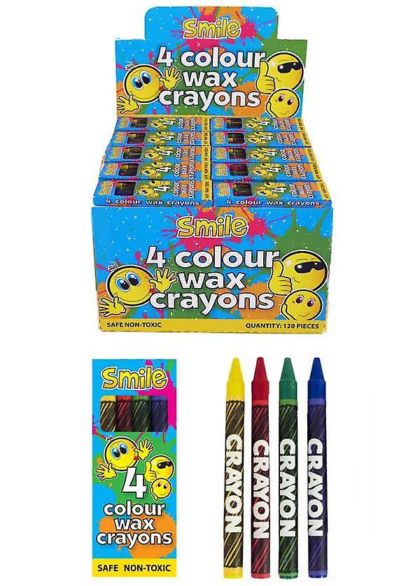 Box of 120 Packs of 4 Colour Wax Crayons
