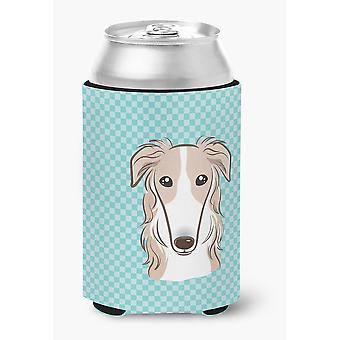 Carolines Treasures  BB1166CC Checkerboard Blue Borzoi Can or Bottle Hugger