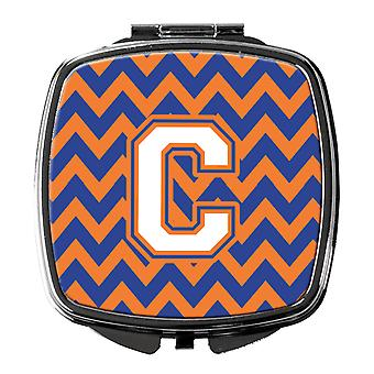 Letter C Chevron Blue and Orange #3 Compact Mirror