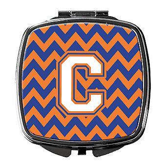 Bogstavet C Chevron blå og Orange #3 kompakt spejl
