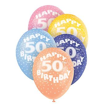 Unique Party 12 Inch 50th Assorted Latex Balloons