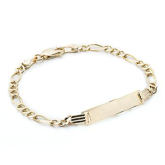Floreo 10k Fine Gold Figaro Customized ID Bracelet Free Engraving for Children, 3.5mm
