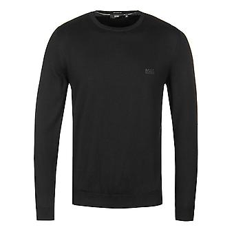BOSS Regular Fit Black Crew Neck Knitted Cotton Sweater