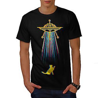 Color Cat Abduction Men BlackT-shirt | Wellcoda
