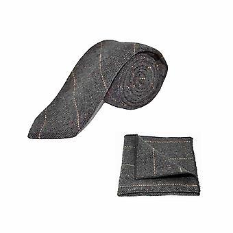 De lujo la raspa de arenque Tweed gris carbón hombres Tie & conjunto Plaza de bolsillo