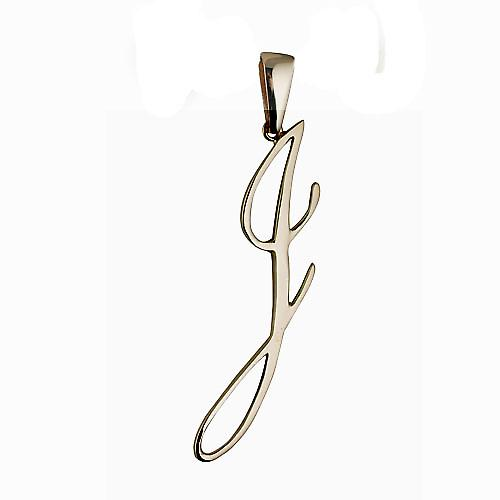 9ct Gold 48x16mm Initial J Pendant