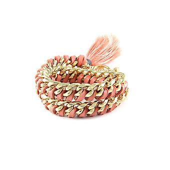 Ettika - Yellow Gold Bracelet, Crystal and ribbons braided leather pink