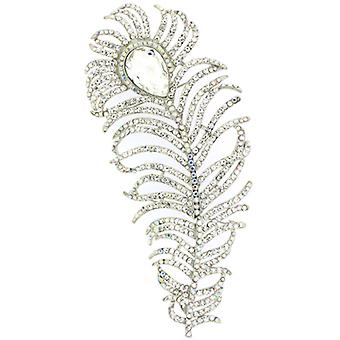 Magasin de broches argent extra-large & AB cristal Swarovski Peacock Feather broche