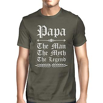 Vintage Gothic Papa Mens Cool Grey Cute Proud Dad T-Shirt Great Gift
