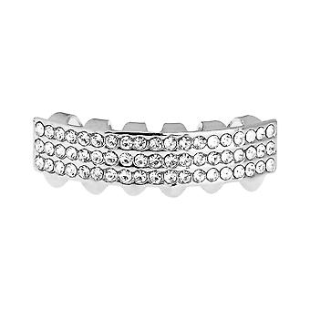 One Size Fits All Bling Grillz - THREE LINE BOTTOM - Silber