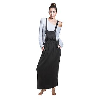 Long Dungaree Dress - Black Maxi Loose Pinafore with T-shirt