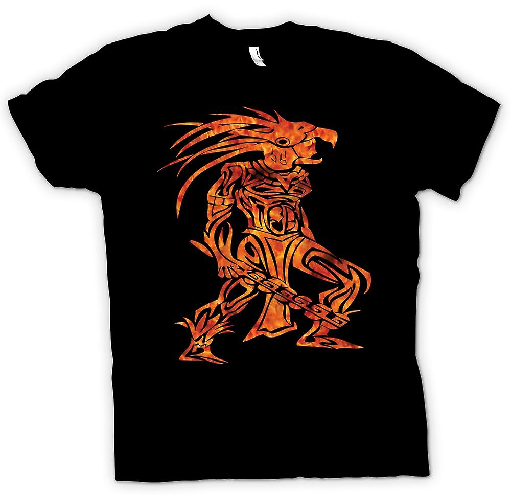 Mens T-shirt - Flamed Aztec Tribal Warrior Tattoo