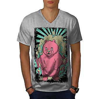 Niedlichen Cartoon Bär Tier Männer GreyV-Neck T-shirt   Wellcoda