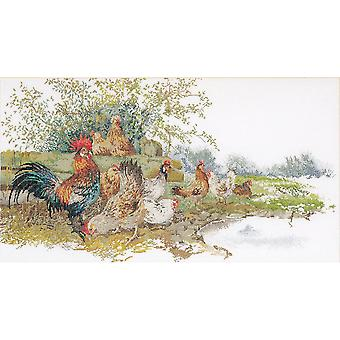 Chickens On Linen Counted Cross Stitch Kit-26.75