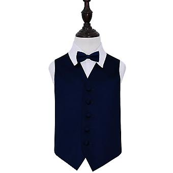 Navy Blue Plain Satin Wedding Waistcoat & Bow Tie Set for Boys