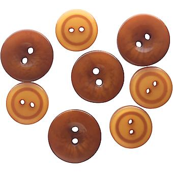 Button Up! Snack Pack Buttons 8/Pkg-Ginger