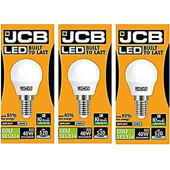 3 X JCB LED Daylight SES E14 Small Screw Golf Ball Mini Globe Lamp 6500K Light Bulb 40W Equivalent[Energy Class A+]
