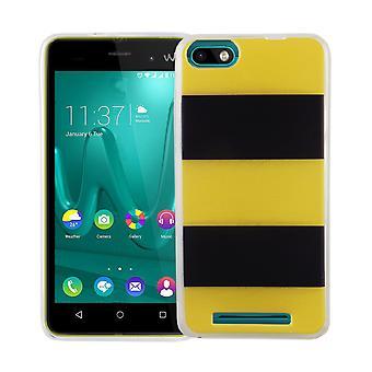 Handy Hülle für Wiko Lenny 3 Cover Case Schutz Tasche Motiv Slim Silikon TPU Gelb / Schwarz