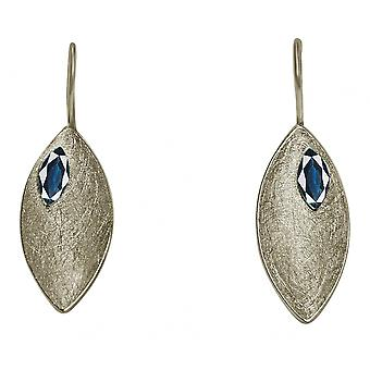 Ladies earrings 925 Silver MARQUISE Iolite Blau 3.5 cm