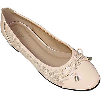 FLC006 Valencia Ladies Bow Accent Patent Smart Casual Pumps Flats Dolly Shoes