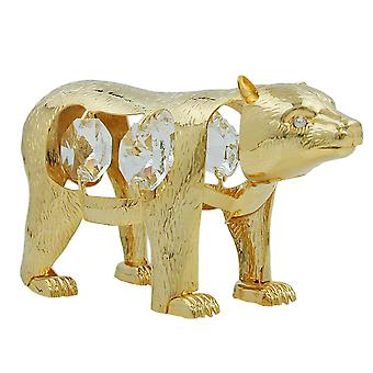 Polar bear with crystal elements gold plated