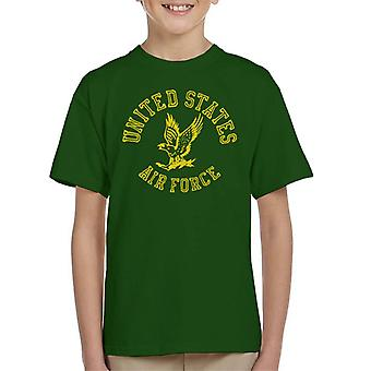US Airforce Eagle Yellow Text Kid's T-Shirt