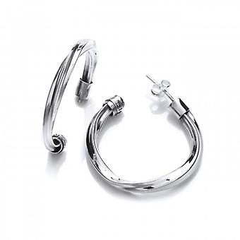 Cavendish French Twisted Hoop Silver Earrings